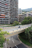 Motorbike racing on a bridge Stock Photos