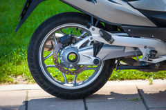 Motorbike rear wheel mechanism Royalty Free Stock Image