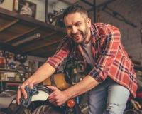 Motorbike repair shop Stock Image