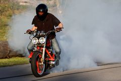 Motorbike Rider Burnout Stock Image