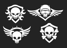 Motorbike riders skull signs Stock Images