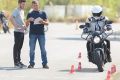 The motorbike riding school. Student stock photography