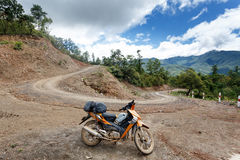 Motorbike on Road in Chin State, Myanmar Stock Photography