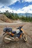 Motorbike on Road in Chin State, Myanmar Stock Photos