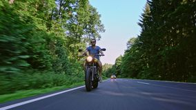 Motorbike on the road riding. having fun riding the empty road o stock video