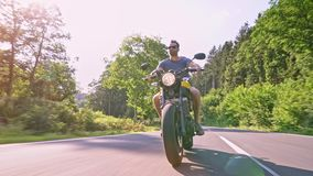 Motorbike on the road riding. having fun riding the empty road o stock footage