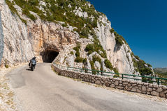 Motorbike in the Route des Cretes, in the region of Alpes-de-Haute-Provence France Royalty Free Stock Photos