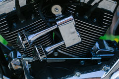 Motorbike's chromed engine Stock Images