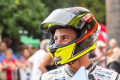 Motorbikes rider Manuel Poggiali portrait. Manuel Poggiali from San Marino Republic is a former world champion bike rider. Now he competes in italian stock photography
