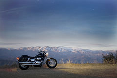 Motorbike and scenery stock photo