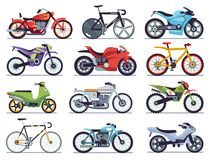 Free Motorbike Set. Motorcycles And Scooters, Bikes And Choppers. Speed Race And Delivery Retro And Modern Vehicles Flat Stock Photos - 155035073