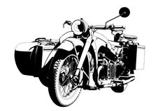 Motorbike sidecar. Transportation vector illustration Royalty Free Stock Photography
