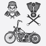 motorbike,skull,engine and pistons Royalty Free Stock Images