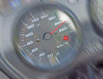 Motorbike speedometer close with blur motion Royalty Free Stock Photos