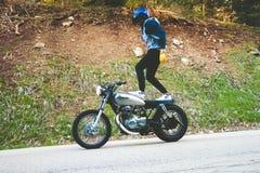 Motorbike standing ride Stock Photo