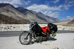 Motorbike  stop in mountains Stock Photos