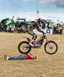 Motorbike stunt jump. Inch Perfect Trials Display Team performing at the annual Nairn Farmers Show, 28 July 2012 Stock Photo