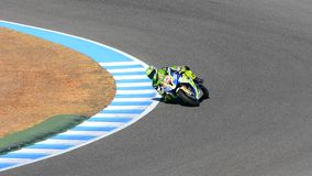 Motorbike taking a curve on a circuit, Jerez motor circuit stock footage