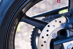 Motorbike tire with brake  system. Motorbike tire with brake system and tire Royalty Free Stock Photo
