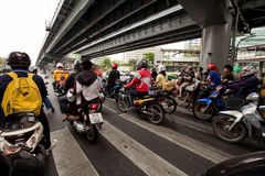 Motorbike traffic in Bangkok Stock Photography