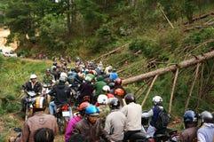Motorbike in traffic jam on mountain pass Royalty Free Stock Photos