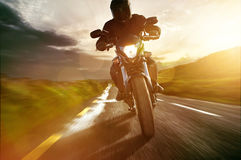 Motorbike. Traveling on the road stock image