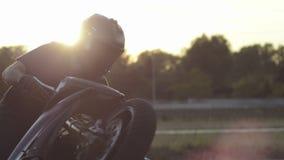 Motorbike tricks. Man doing motorbike tricks. Extreme driving stock video
