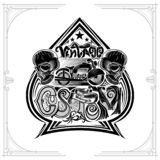 Motorbike between two skulls and lettering custom inside ace of spades form. Vintage motorcycle design playing card or t t-shirt e. Lement on white stock illustration