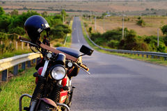 Motorbike on the way in summer adventure trip royalty free stock photos