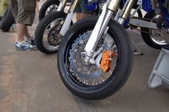 Motorbike Wheel. Cropped view of a motorbike wheel Stock Images