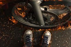 Motorbike wheel in flame. Stock Photography