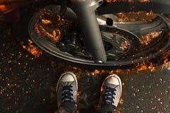 Motorbike wheel in flame. Motorbike wheel in flame, fire illustration Stock Photography