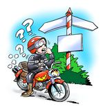 Motorbiker at a crossroads Royalty Free Stock Image