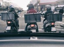 Motorbiker för tre leverans Arkivfoto