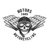 Motorbiker. Vector skull emblem motorcycle helmet and motorcycle glasses on a white background Stock Photo