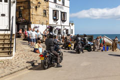 Motorbikers arrive outside The Bay Hotel. Royalty Free Stock Photography