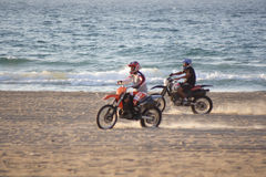 Motorbikes on the beach #2. Motorbikes on the sunset beach Royalty Free Stock Photography