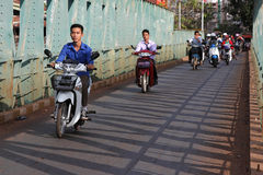 Motorbikes on a bridge Royalty Free Stock Photo