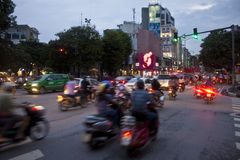 Motorbikes on busy road Royalty Free Stock Images