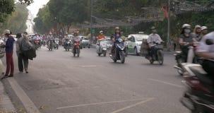 Motorbikes and cars traffic on Hanoi highway, Vietnam stock video