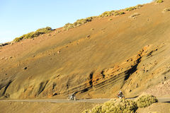 Motorbikes driving through the Teide National Park Stock Image