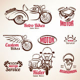 Motorbikes emblems and labels set. Retro motorcycle Stock Images