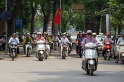 Motorbikes on Hanoi street. Vietnam Royalty Free Stock Photo
