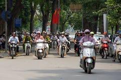 Motorbikes on Hanoi street Royalty Free Stock Photo