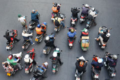 Motorbikes at a Junction in Bangkok Stock Photography