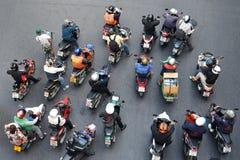 Motorbikes at a Junction in Bangkok Stock Photography