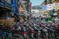 Motorbikes of Lahore. Parking for motorbikes - the most popular form of transport in Lahore in Pakistan Royalty Free Stock Images