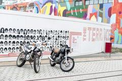 Motorbikes park beside tramway on Cashell Street near Restart Mall Stock Images