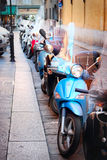 Motorbikes parked in raw Royalty Free Stock Photo