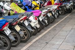 Motorbikes parked on the street of Hanoi, Vietnam.  Stock Image